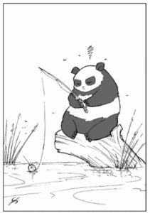 Pandas are pretty patient fishing for crits